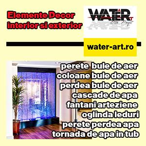 water-art  perete bule de aer, coloane bule de aer, perdea bule de aer, cascade de apa, fantani arte